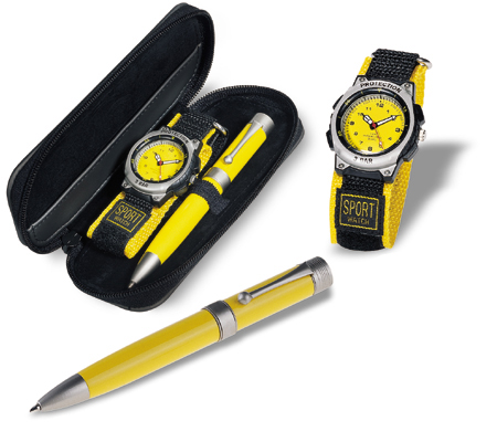 Gift set with sports watch and ball pen in case