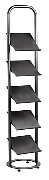 Floor Standing Brochure Holder with 5 Tilting Shelves - Black