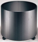 Fluted Planter Fitted with Sliders or Castors, 40cm Liner - Blac