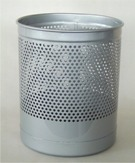Waste Paper Basket, Heavy Duty, Perforated - Silver