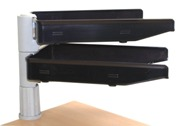 Swivel Letter Trays, 2 Tier Unit with Clamp Fix - Black