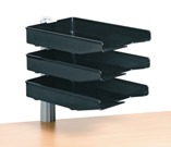 Swivel Letter Trays, 3 Tier Unit with Clamp Fix - Black