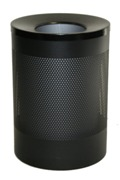 Wide Litter Bin with Black Funnel Top, Perforated - Black