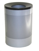 Wide Litter Bin with Black Funnel Top, Perforated - Silver