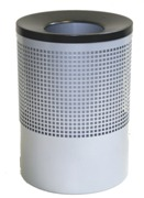 Wide Litter Bin with Black Funnel Top, Square Punch - Silver