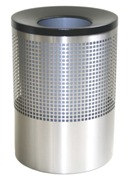 Wide Litter Bin with Black Funnel Top, Square Punch - Stainless