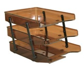 Letter Trays, Three Tier Cantilever - Brown