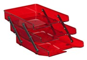 Letter Trays, Three Tier Cantilever - Burgandy