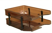 Letter Trays, Two Tier Cantilever - Brown