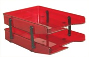 Letter Trays, Two Tier Cantilever - Burgandy
