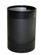 Wide Litter Bin with Single Ashtray Flip Top, Perforated - Black