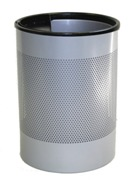 Wide Litter Bin with Single Ashtray Flip Top, Perforated - Silve