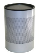 Wide Litter Bin with Swivel Top, Perforated - Silver