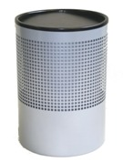 Wide Litter Bin, Square Punch - Silver