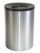 Wide Litter Bin with Black Swivel Funnel Top, Solid - Stainless