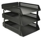 Perforated Steel Letter Tray, 3 Tier - Black