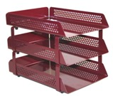 Perforated Steel Letter Tray, 3 Tier - Burgandy