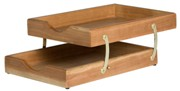 Letter Tray A4, 2 Tier Collapsible, Solid Wood - Cherry