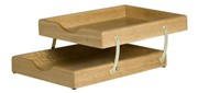Letter Tray A4, 2 Tier Collapsible, Solid Wood - Oak