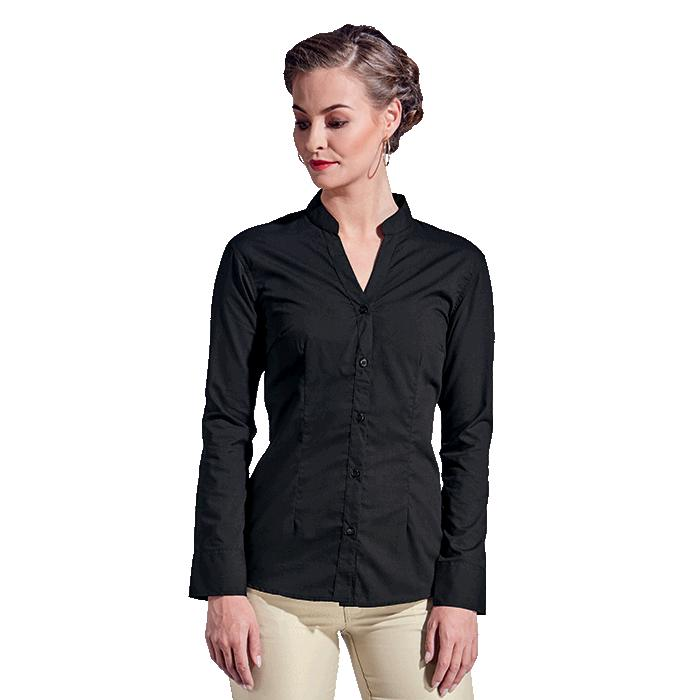 Barron Ladies Barista Blouse Long Sleeve - Avail in: Black, Red