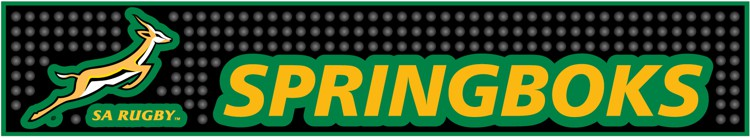 Springboks Bar Mat / Black & Green Rugby Bar Mats - Min order 50