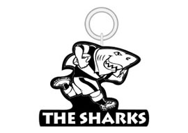 Sharks KeyRing Large  Rugby Keyrings - Min order 50 units.