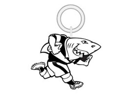 Sharks KeyRing Small Rugby Keyrings - Min order 50 units.