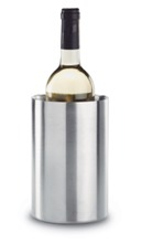 Double wall stainless steel bottle cooler in round shape.