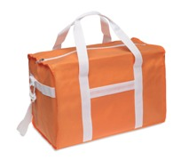 Sport bag in non-woven with white trimmings. It includes one zip