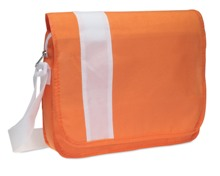 Document bag with flap in non-woven with white trimmings. It inc