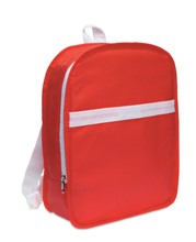 Backpack in non-woven with white trimmings. It includes a main z