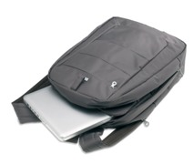 High quality backpack in microfiber with an aluminium handle. It
