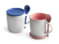 Ceramic Coaster Mug & Spoon - Available many different colours