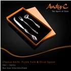 Andy C Pod Chrome Cheese knife, pickle fork &olive spoon