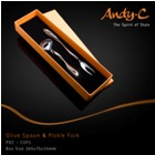 Andy C Pod Chrome Olive spoon & pickle fork