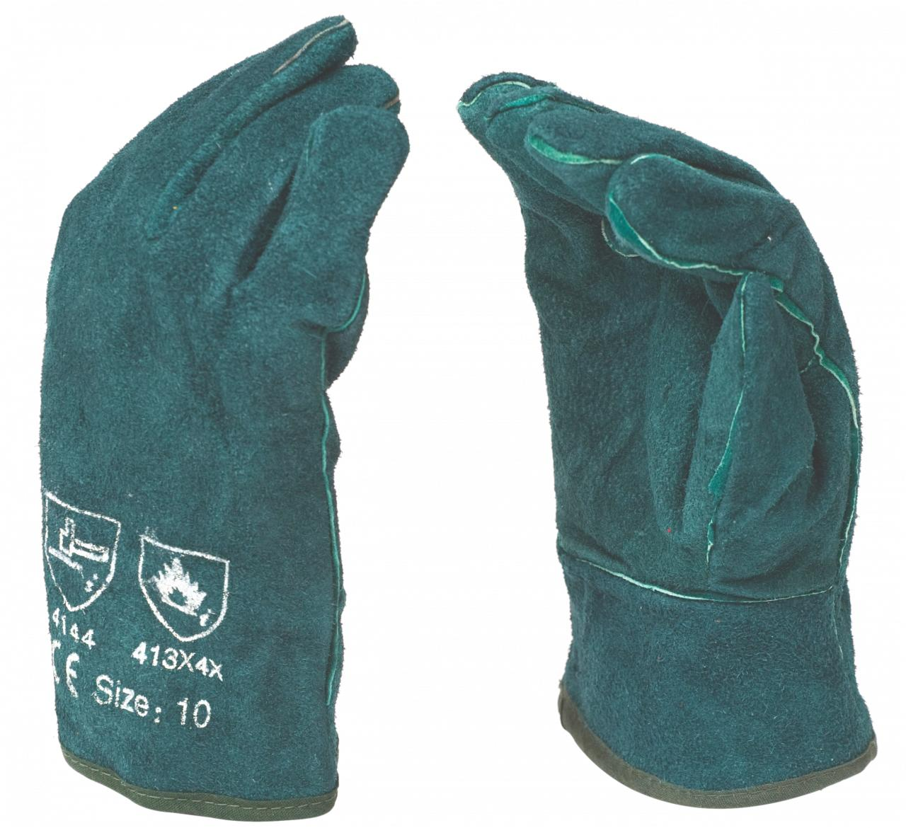 Leather Glove Welding Green Cuff 8 inch