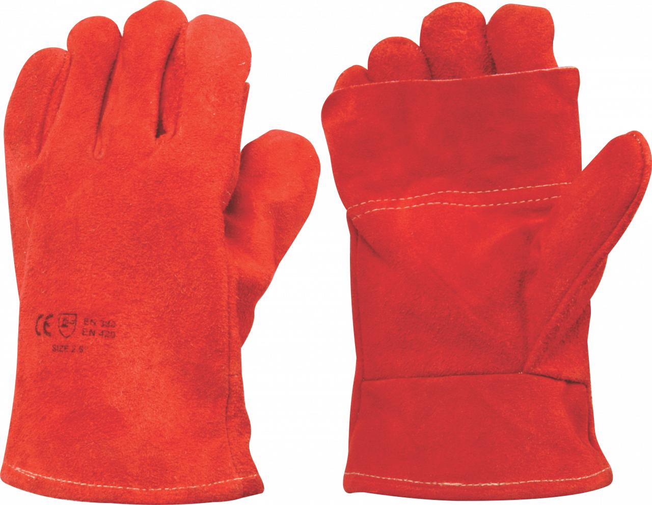 Leather Glove Heat Red Cuff 2.5 inch