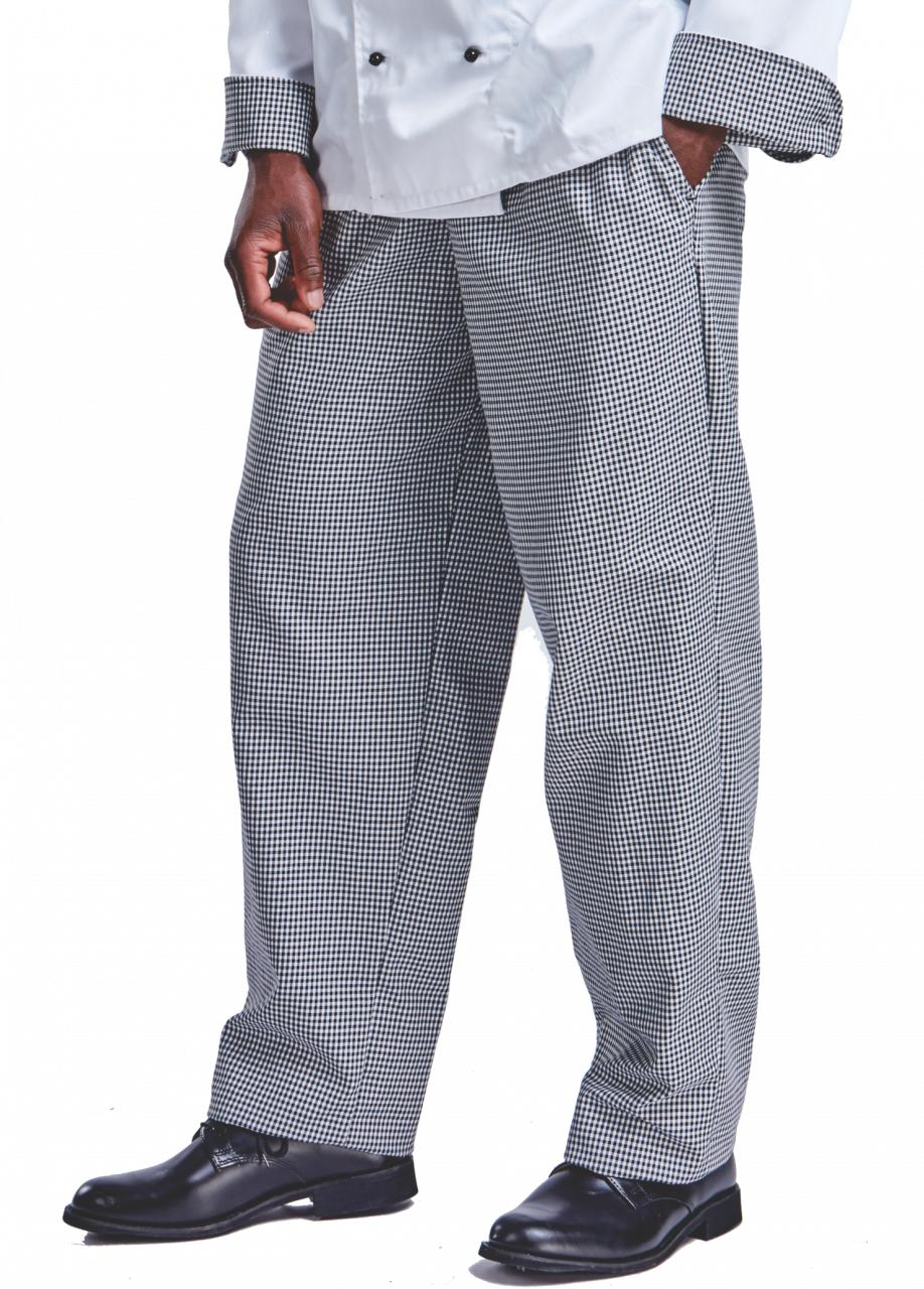Chef Trousers Poly Cotton Blue/White Check. Sizes 34 - 56