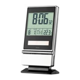 Solar desk clock and calendar - 2 AAA batteries not included -Av