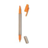 Highlighter + pen with recycled carton body - blue ink refill -A