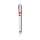 Plastic automatic ball pen with satin silver finish - blue ink r