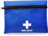 First aid kit supplied in a nylon pouch with a belt clip attachm