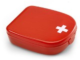 Handy size first aid kit in a plastic case, consisting of two al