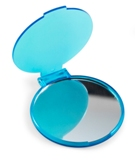 Round plastic single pocket mirror . - Available in: Turquoise,