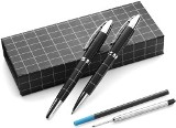 Metal ballpen and rollerball set with extra blue refills, suppli