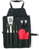 Six piece Barbecue / Braai set in a black nylon apron with carvi