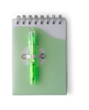 Note book in a plastic spiral bound case with retractable ballpe