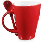 Heart shaped porcelain coffee mug (260ml) with integral spoon di