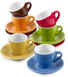 Set of six different coloured porcelain cups (100ml) and saucers