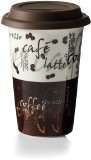 White porcelain single walled 500ml mug with all over coffee des